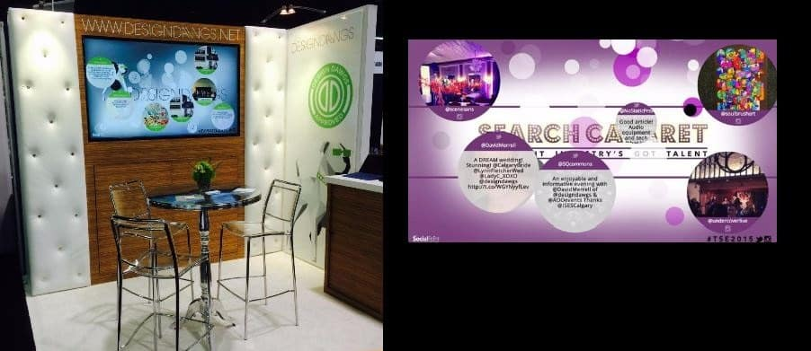 A 10 foot trade show booth includes a social media wall