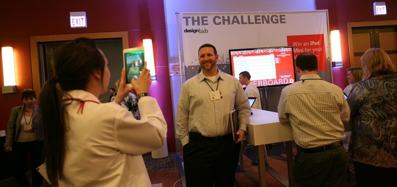 Proud leader on the digital trade show trivia game leaderboard at an event