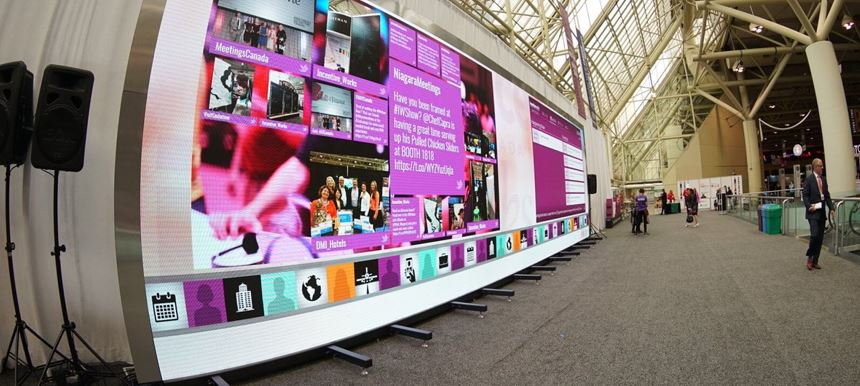 Welcome Attendees with Social Content on Massive Video Wall