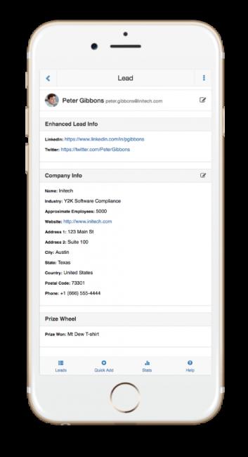 SocialPoint Lead Capture App Lead Info