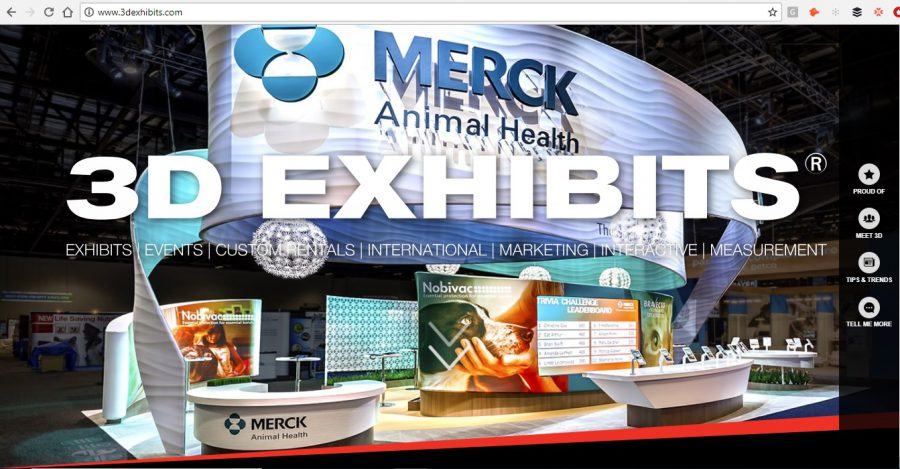 Front page of 3D Exhibits website -- big photo of Merck Animal Health