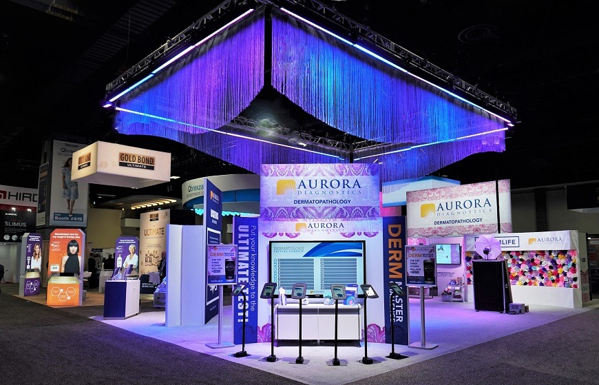 Aurora Diagnostics - Trivia game and entire trade show booth at AAD 2019