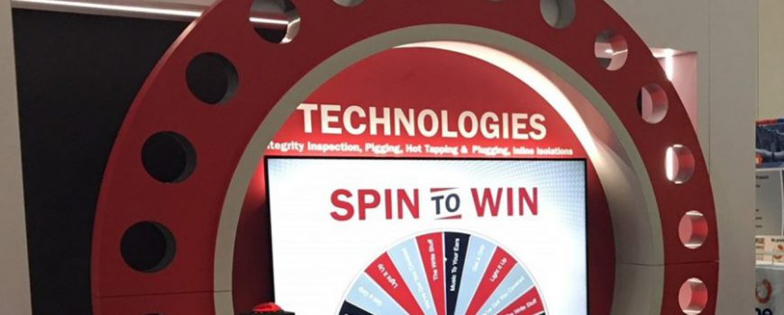 SPIN TO WIN Virtual Prize Wheel built into trade show exhibit