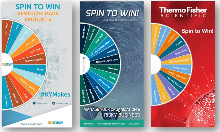 Virtual Prize Wheel - 3 vertical format examples interactive trade show games