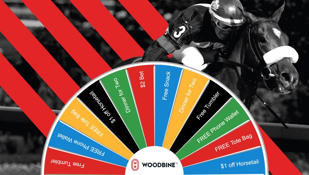 Woodbine - virtual prize wheel trade show interactive game